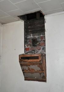 Chimney pedestal inside the kitchen.